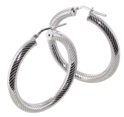Creoles Rondes Striees 4 Mm Diametre 30 Argent Rh