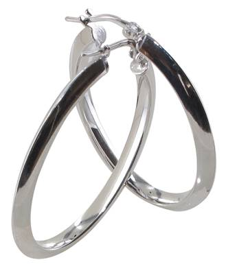 Creoles Ovales Tube Triangle 3 Mm Gm Argent Rh